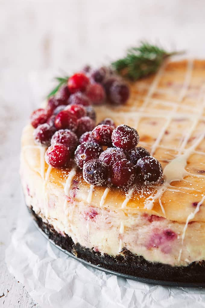 Sugared Cranberries on a cheesecake
