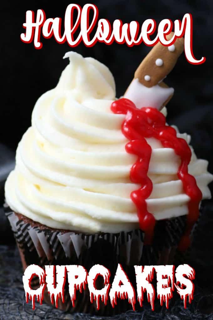 Red Velvet Halloween Cupcakes Pin