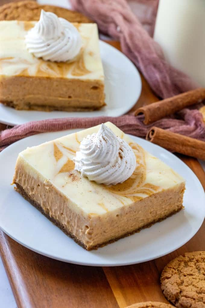 Easy Swirl Pumpkin Cheesecake Bars Noshing With The Nolands