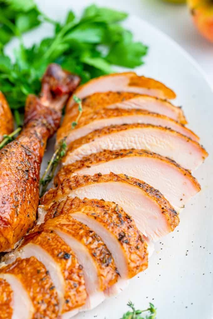 Close up of sliced turkey breast
