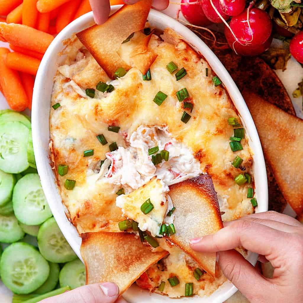 Baked Crab Rangoon Dip with chips and veggies