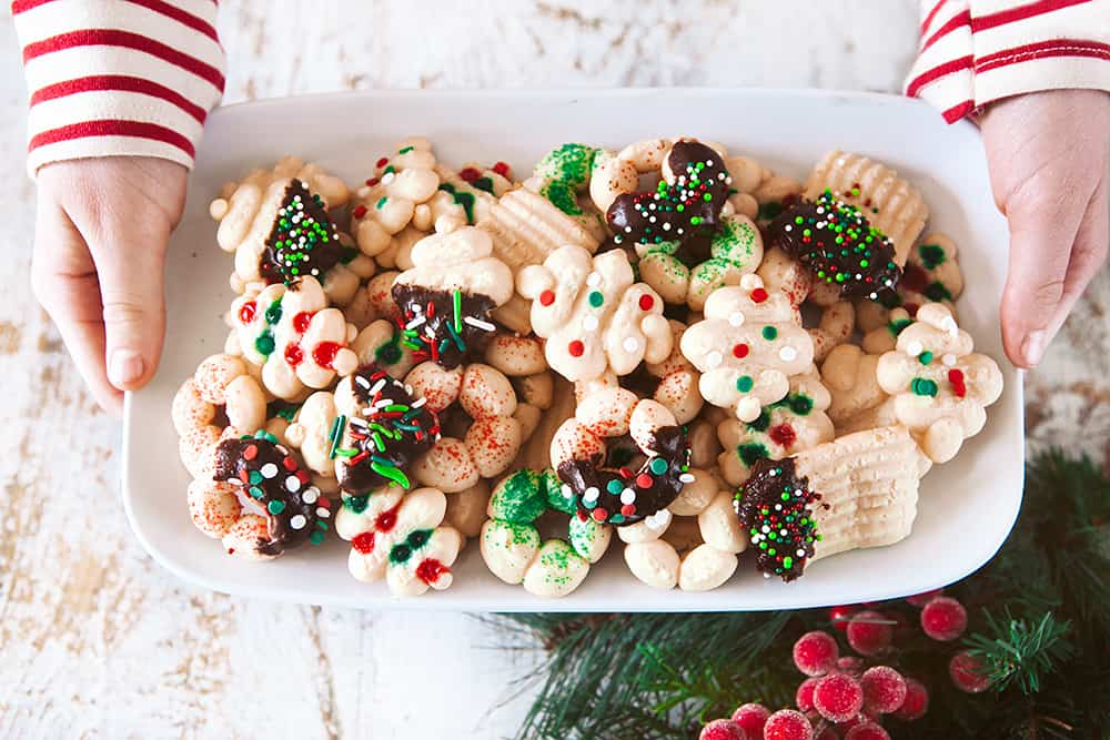 A cookie platter of Cream Cheese Spritz Cookies