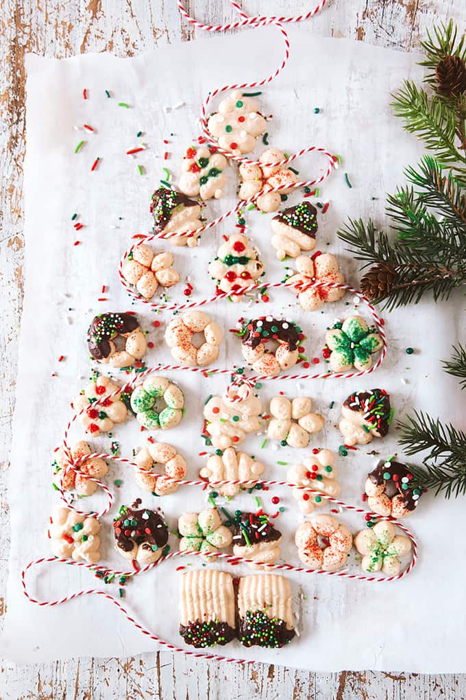 Cream Cheese Spritz Cookies made out to look like a Christmas tree