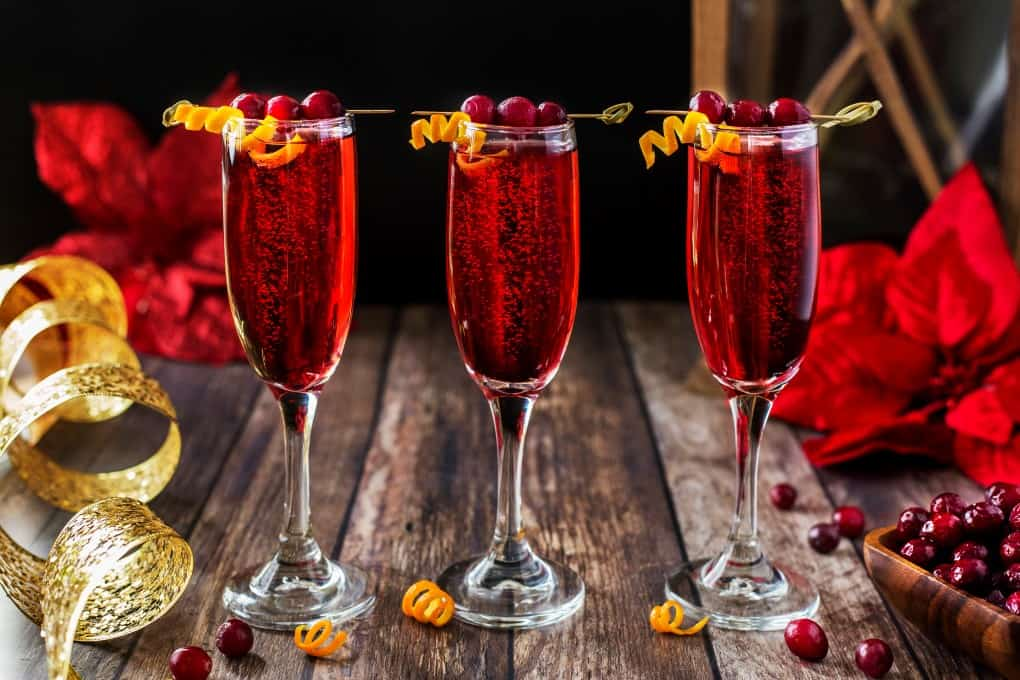 Three cranberry cocktails in a row