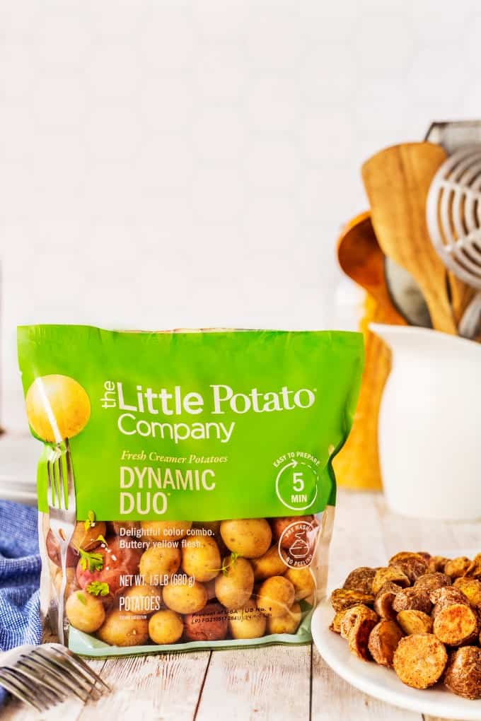 Showing a bag of Little potatoes from The Little Potato Company.