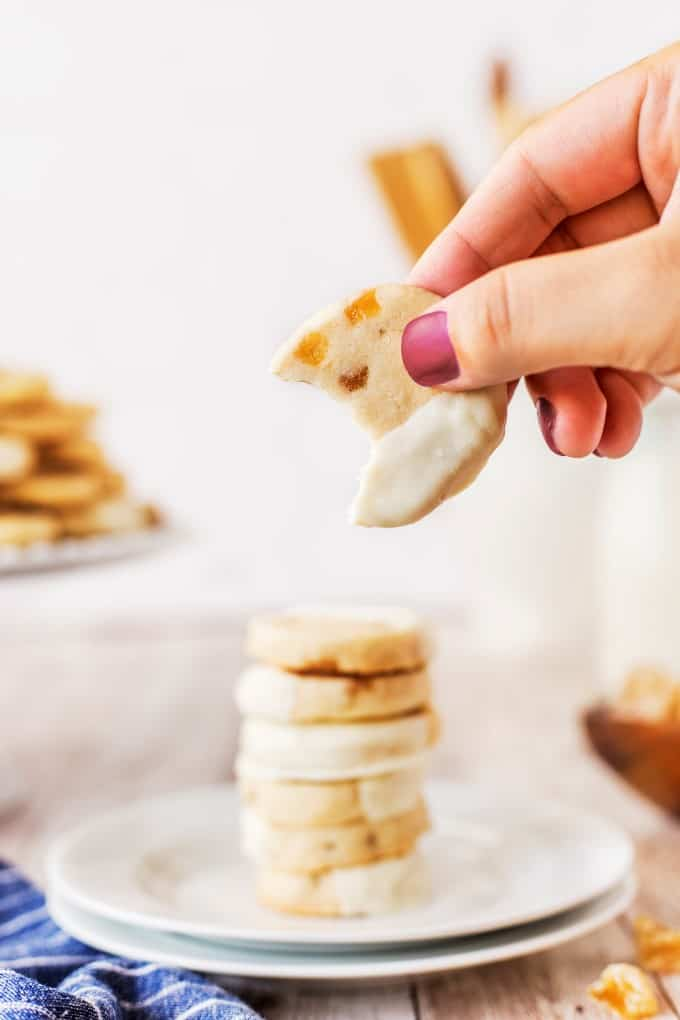 Taking a bite out of White Chocolate Ginger Shortbread