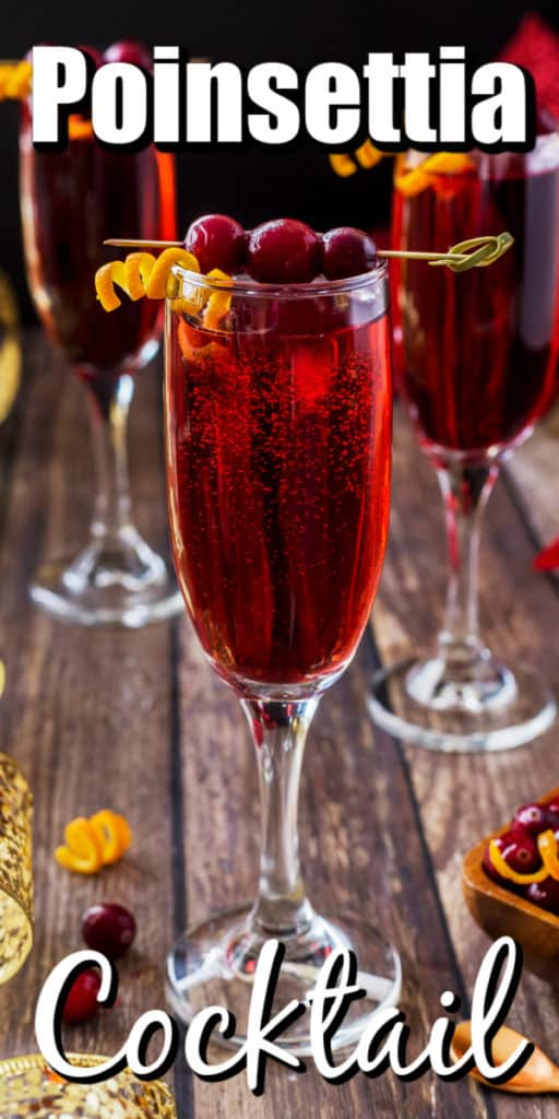 Poinsettia Drink (A Champagne Cocktail) Pin