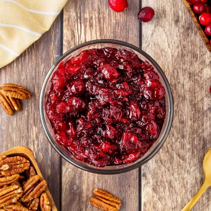 Overhead of cranberry sauce in a bowl.