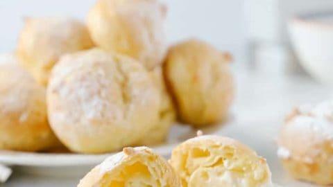 close up inside a cream puff.
