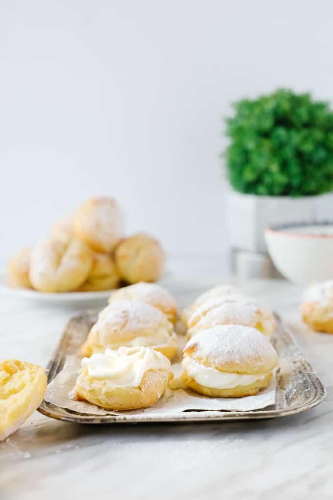 Cream puffs on a platter