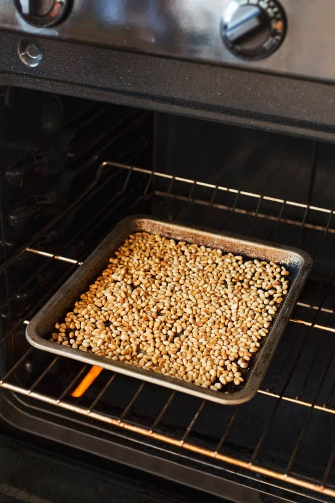 Toasting pine nuts in the oven