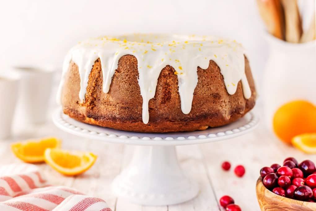 A bundt cake on a cake stand