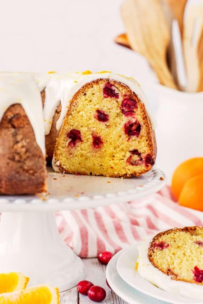 Close up of a sliced Cranberry Orange Bundt Cake