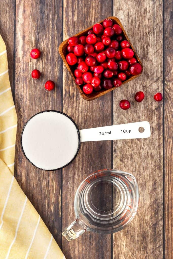 Ingredients for basic cranberry sauce