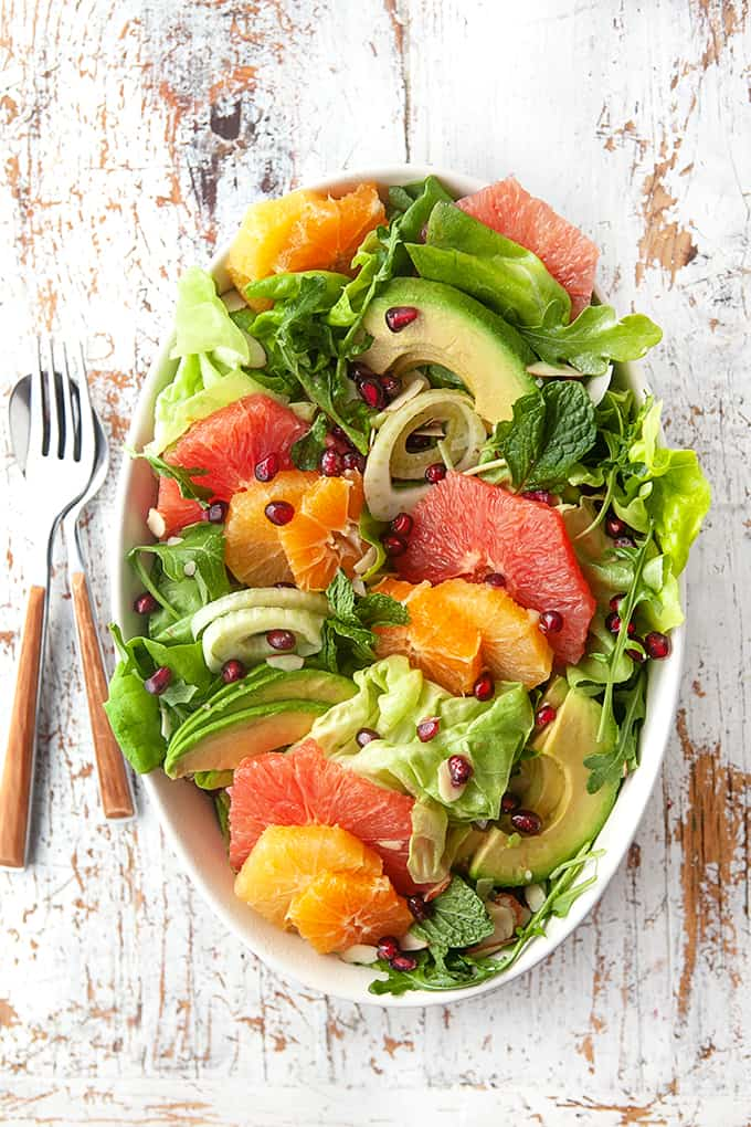 Winter Citrus Salad on a platter
