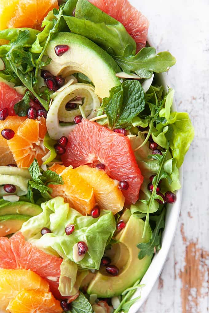 Close up of a winter citrus salad