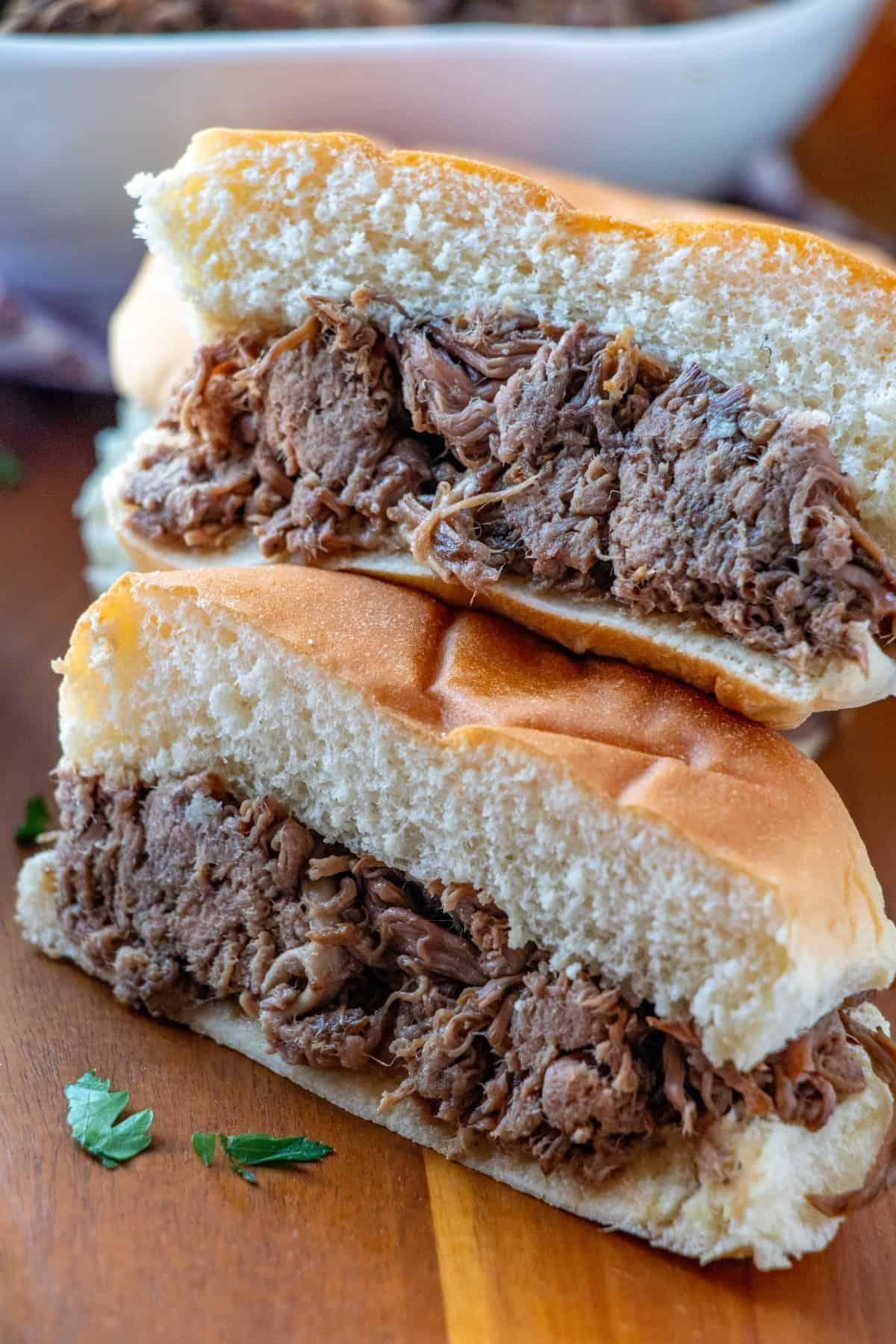 Beef dip sandwich cut in half