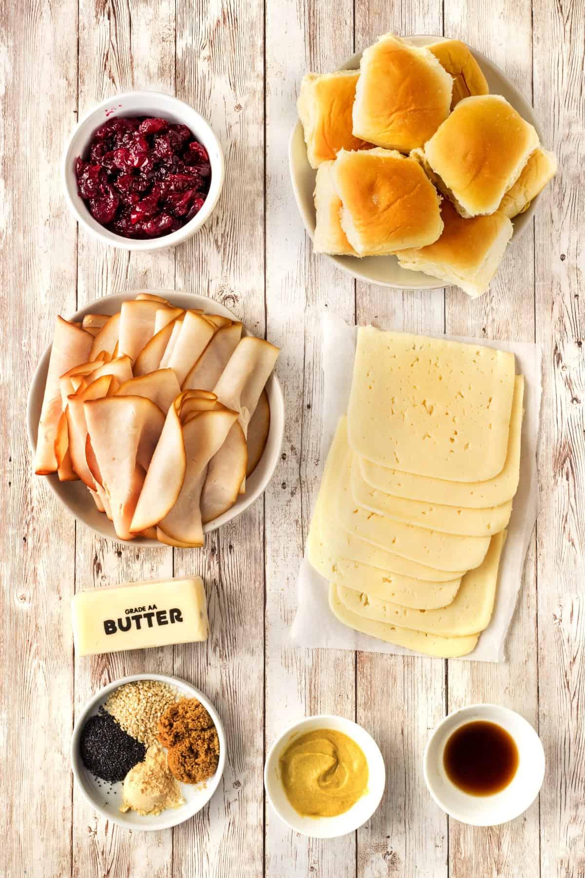 Ingredients for Havarti Cranberry Turkey Sliders