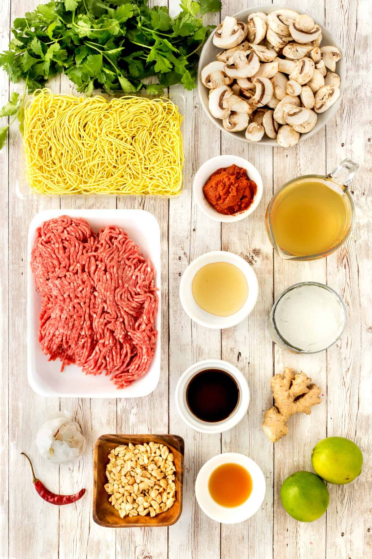 Ingredients for 30 Minute Beef Coconut Curry Soup