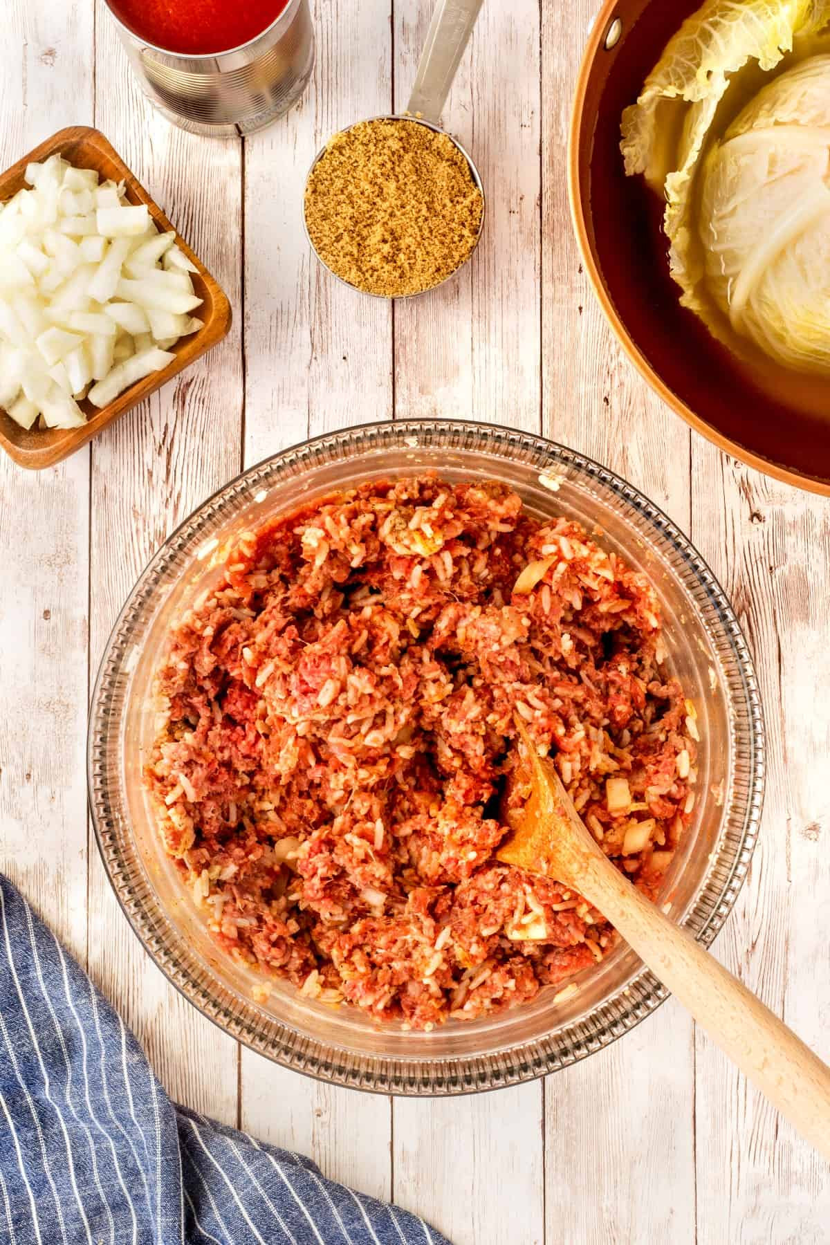 Cabbage roll meat in a bowl