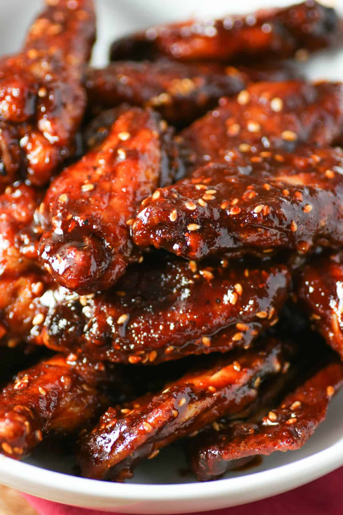 Close up of Wings with Angry Sauce