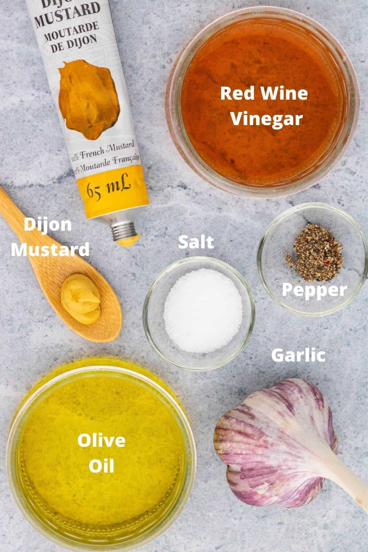 Labelled ingredients used in making Red Wine Vinaigrette.