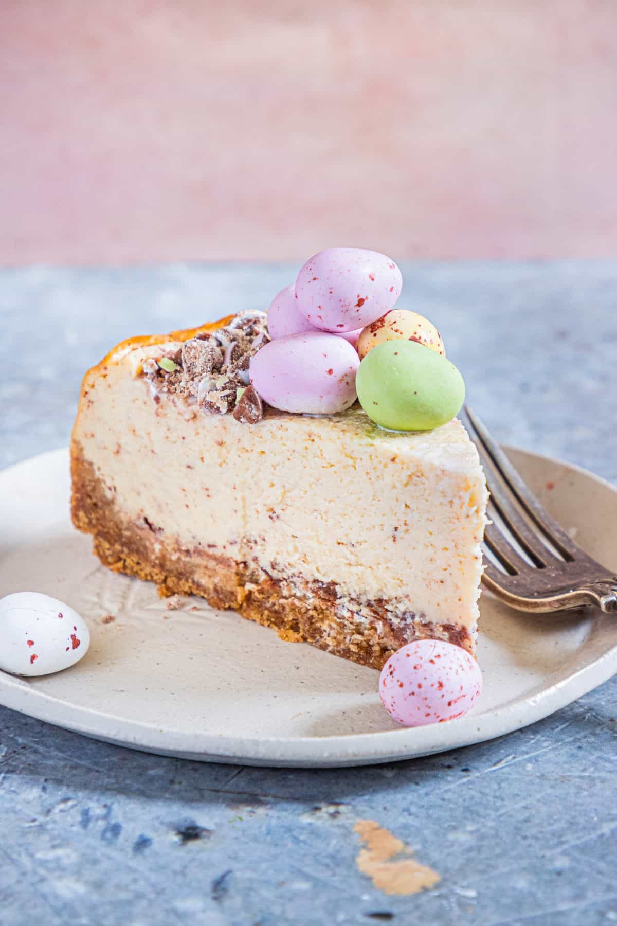 Easter Egg Instant Pot Cheesecake, slice of on a plate