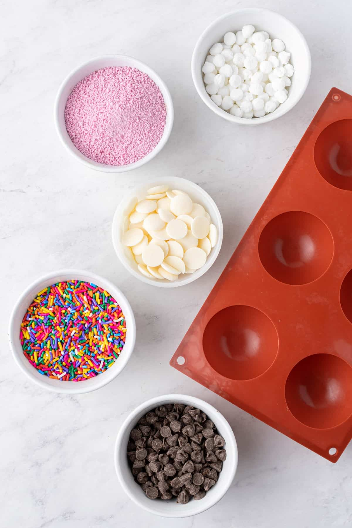 Ingredients for Funfetti Hot Chocolate Bombs