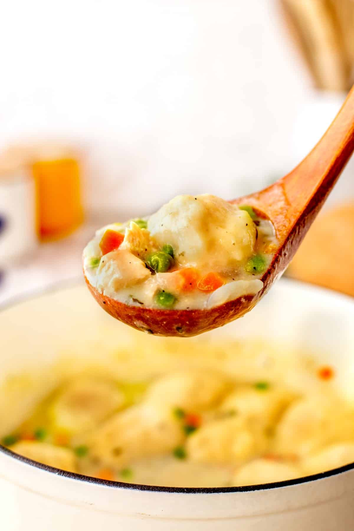 Chicken and dumplings on a spoon