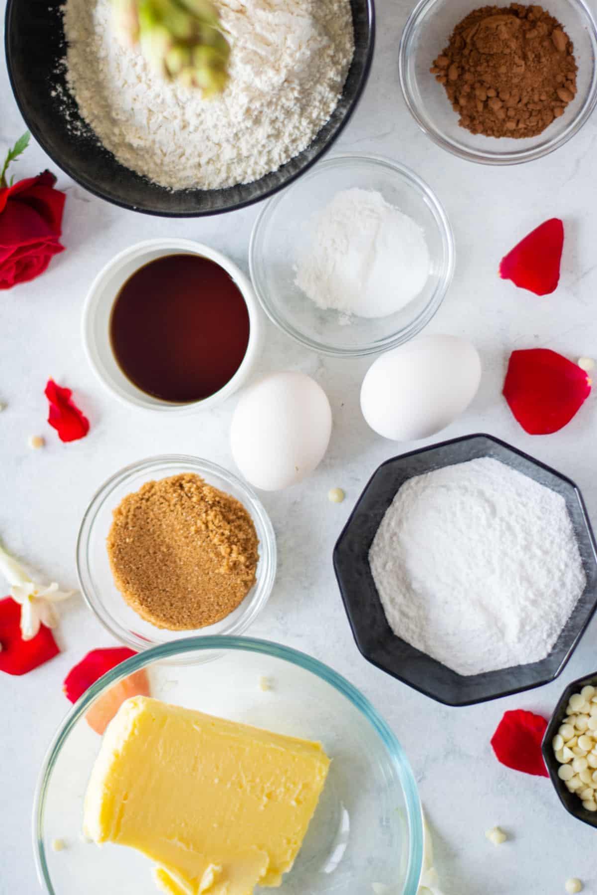 Ingredients for red velvet cookies.