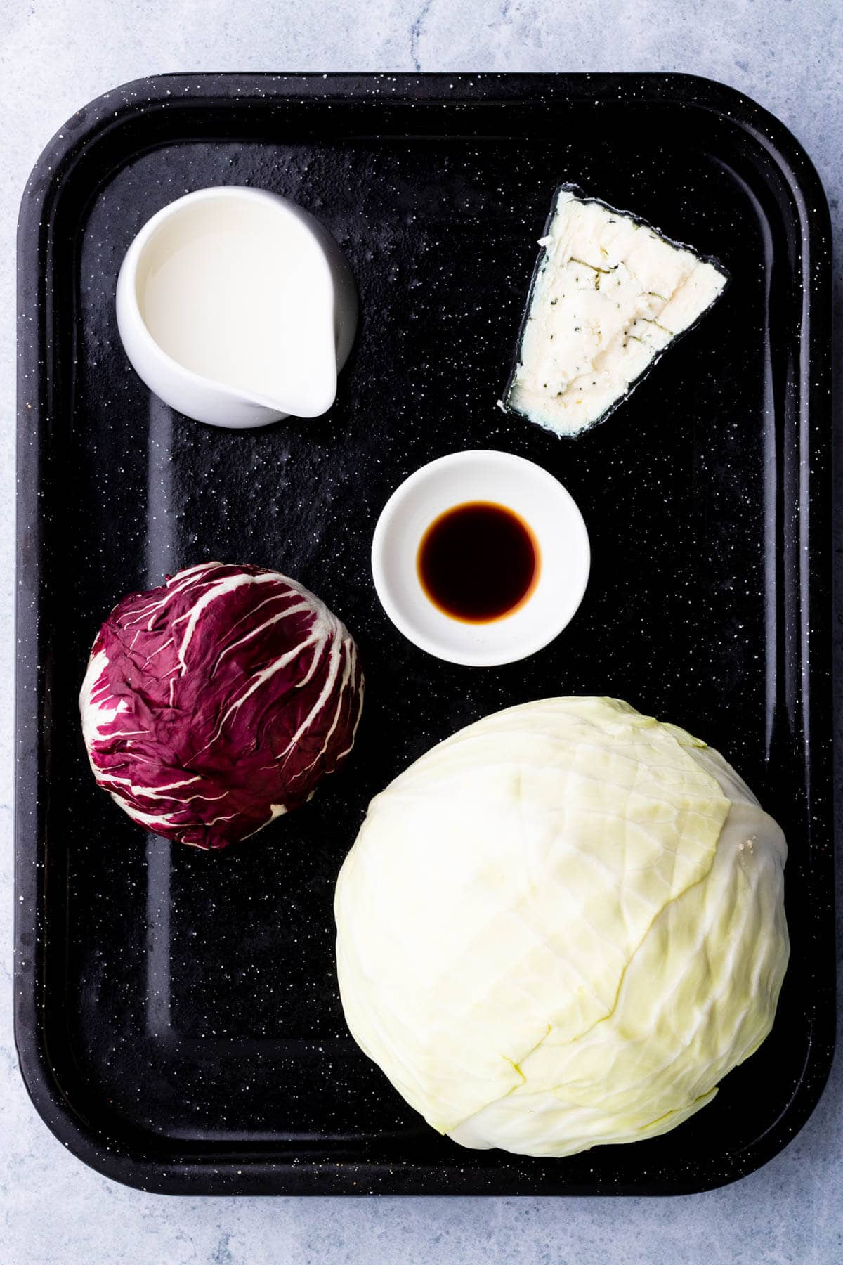 Ingredients for Roasted Cabbage and Blue Cheese sauce.