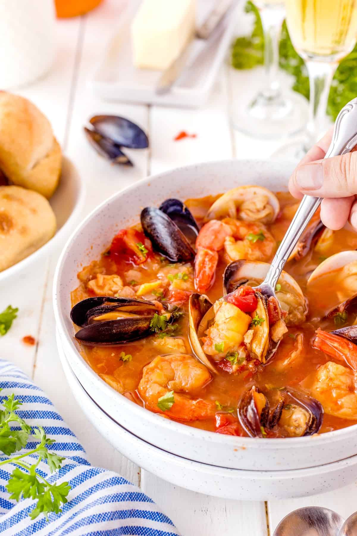 Diving in with a spoon to Fisherman's Stew.