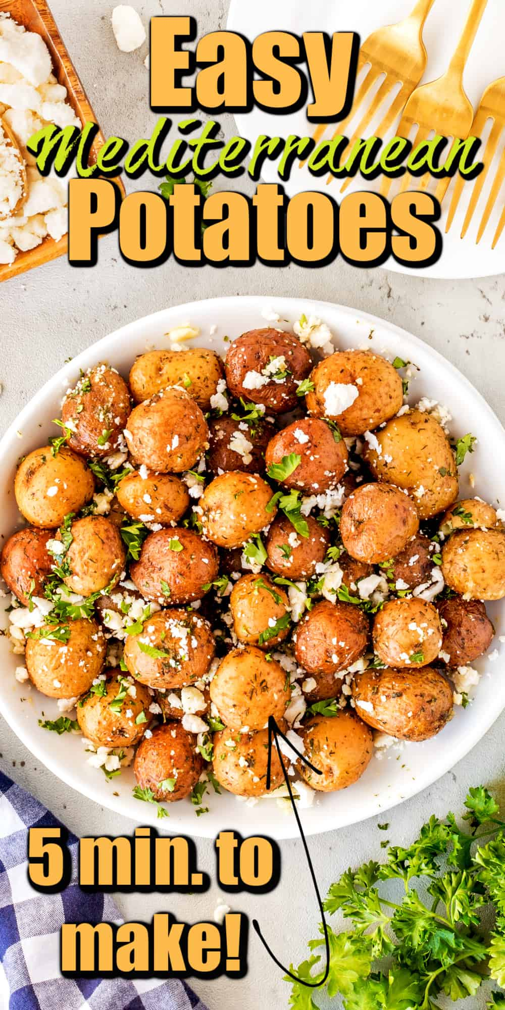 Easy Lemon Feta Mediterranean Potatoes Pin