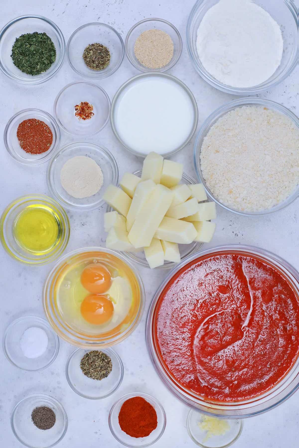 Ingredients for mozzarella cheese sticks