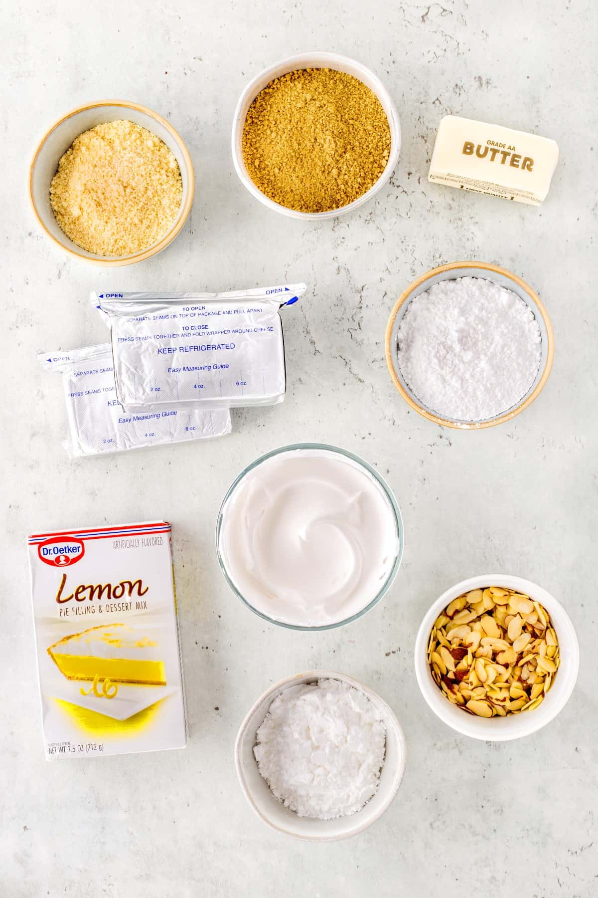 Ingredients to make lemon lush dessert recipe