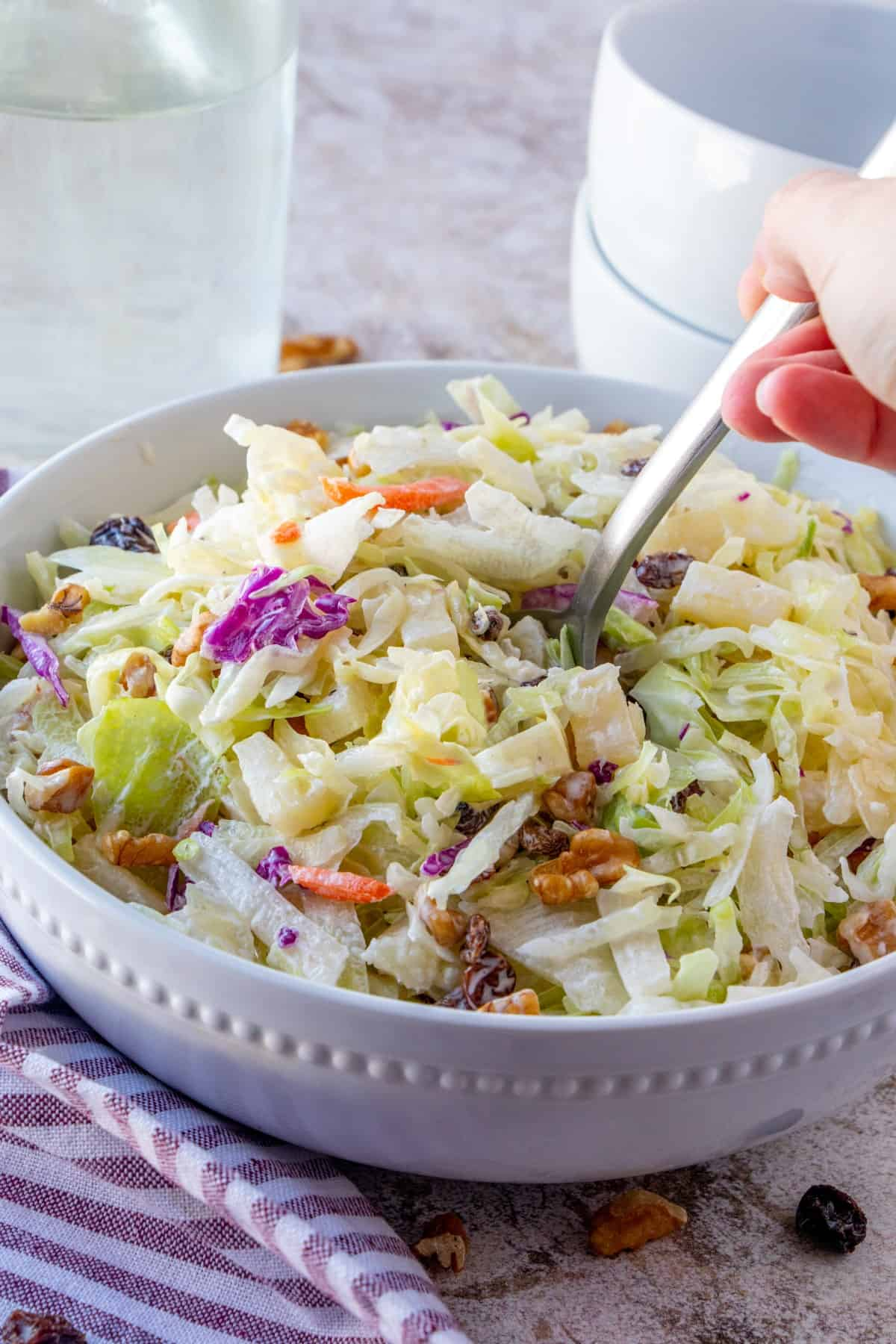 Going to spoon out coleslaw