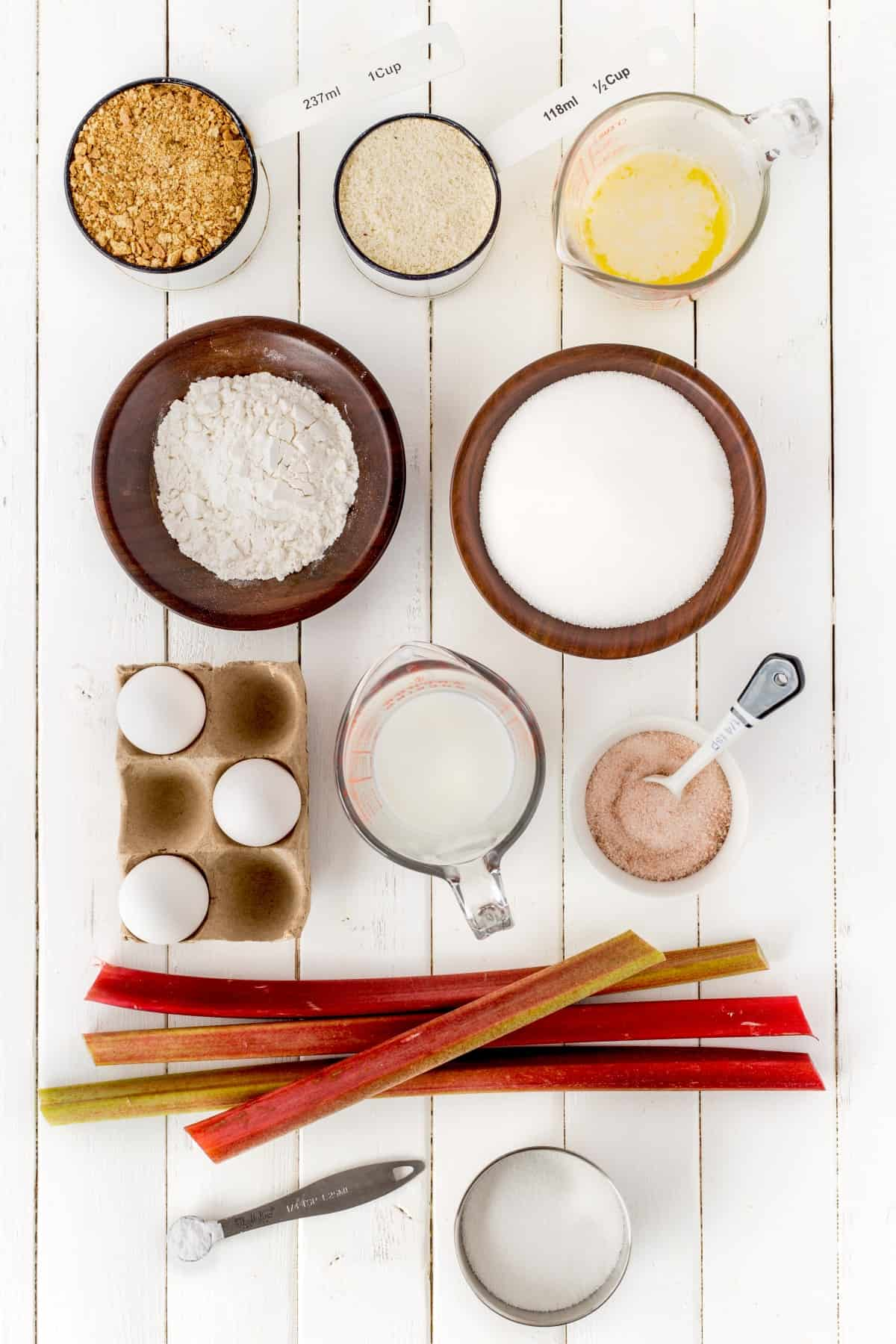 Ingredients to make rhubarb meringue dessert.