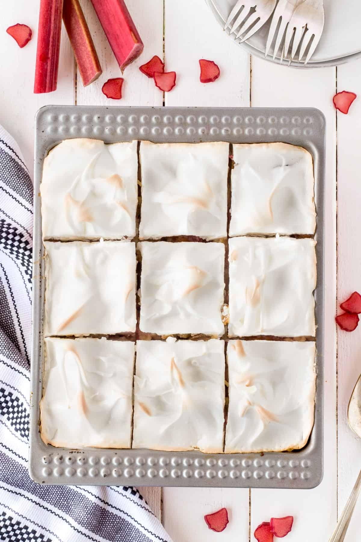 Overhead shot of dessert cut into squares.