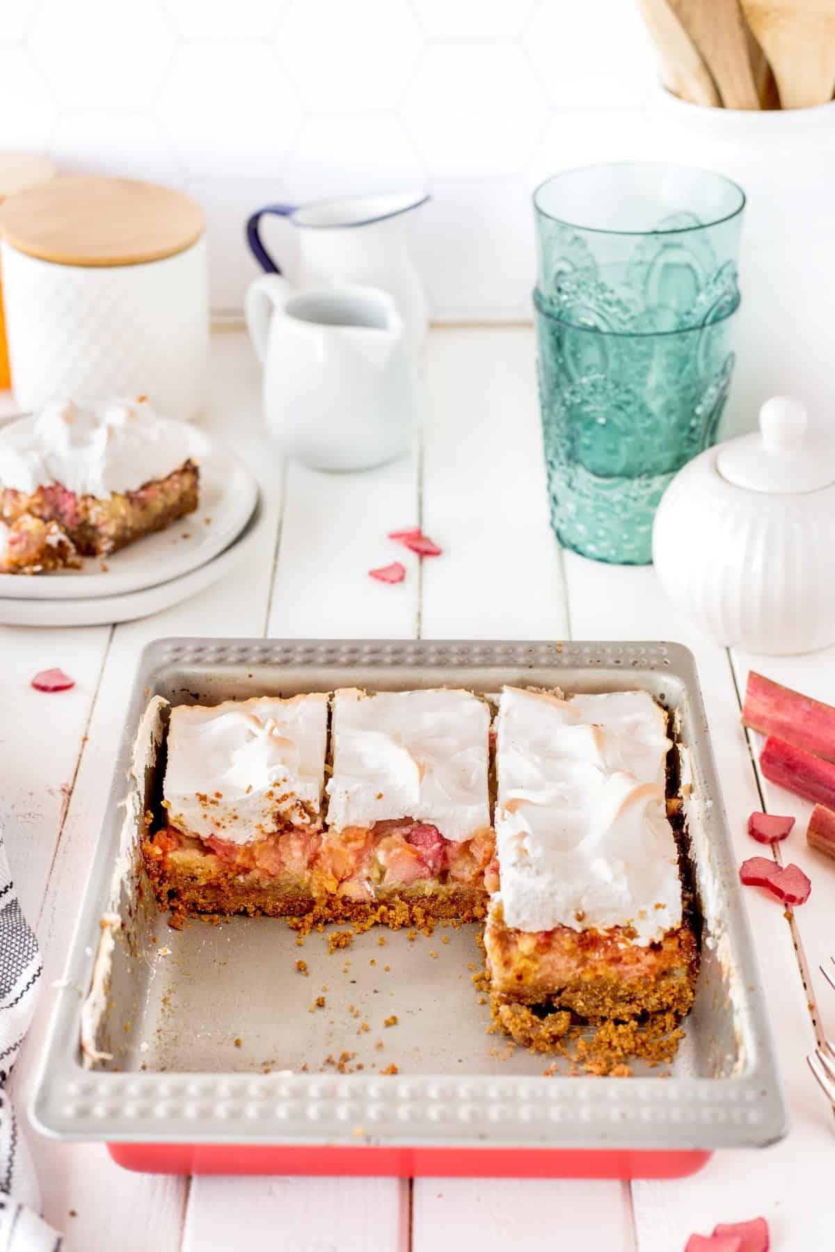 Rhubarb meringue dessert in pan.