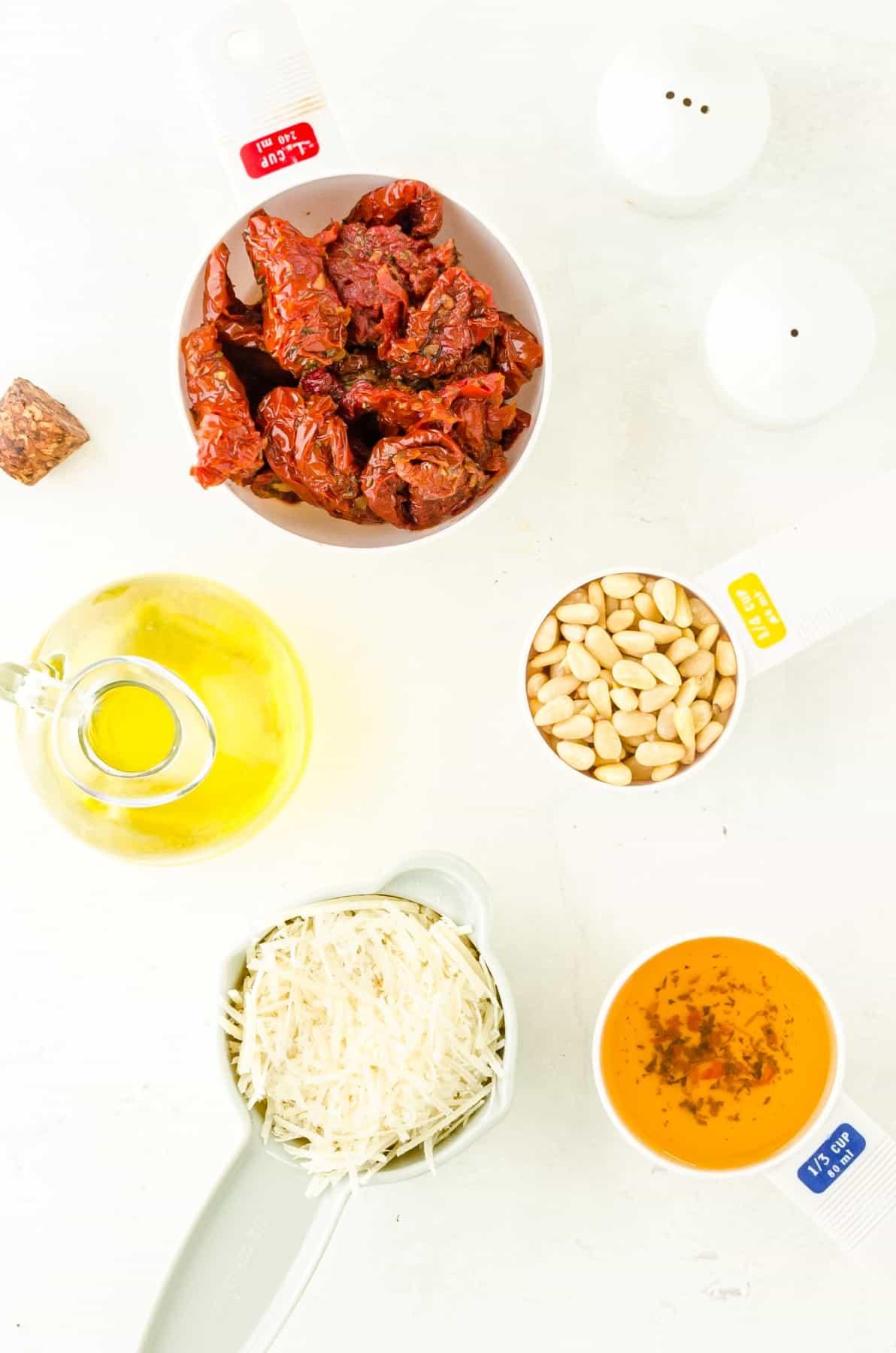 Ingredients for Sundried Tomato Red Pesto or Pesto Rosso