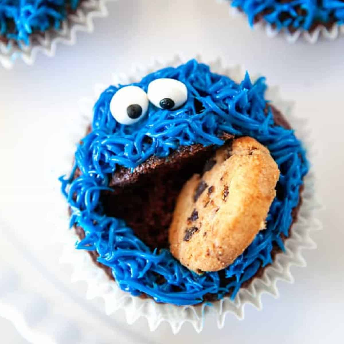 Square photo of a cookie monster cupcake
