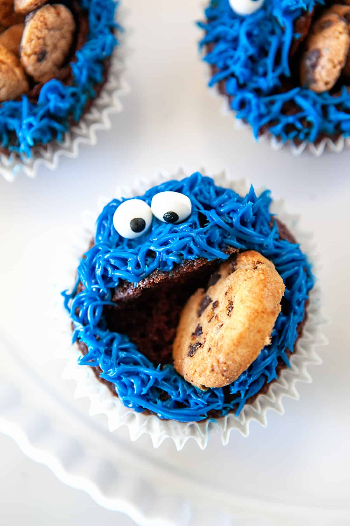 Overhead shot of Cookie Monster Cupcakes