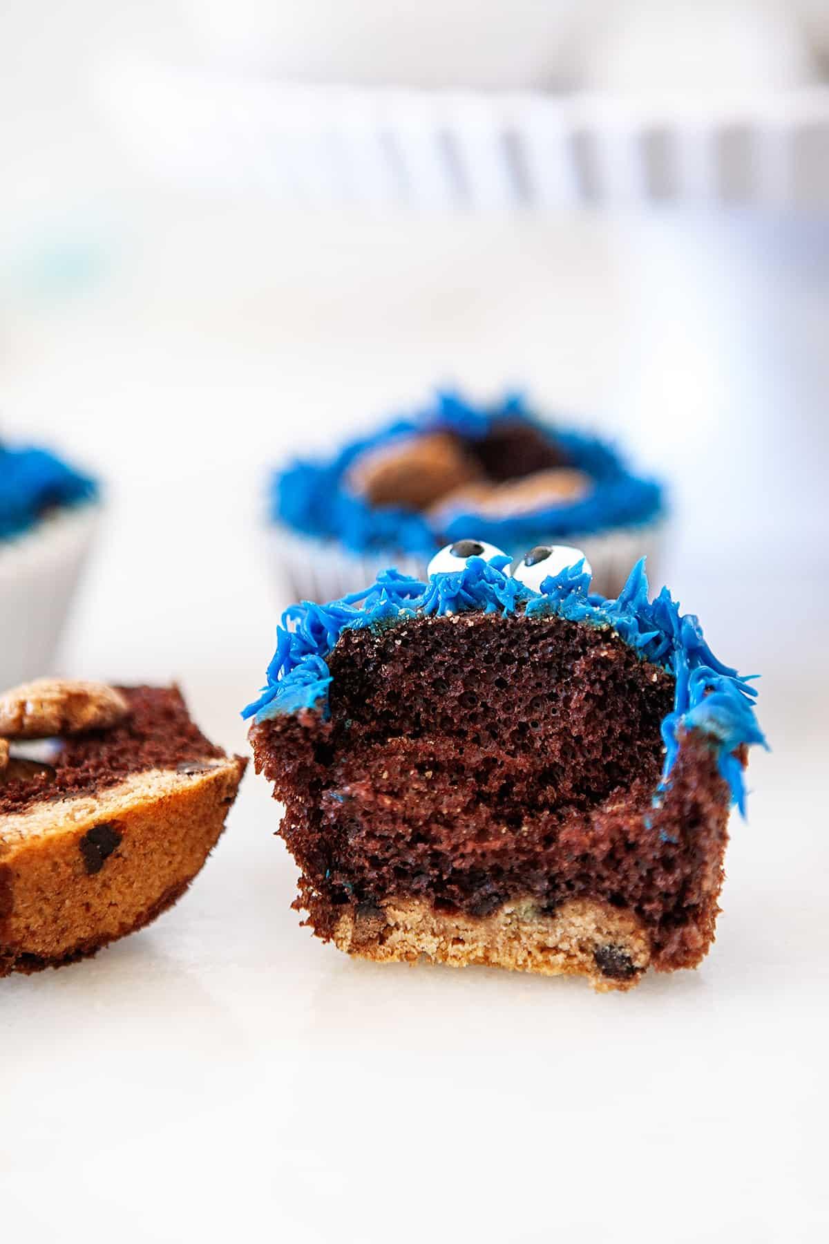 Fun Cookie Monster Cupcakes cut in half