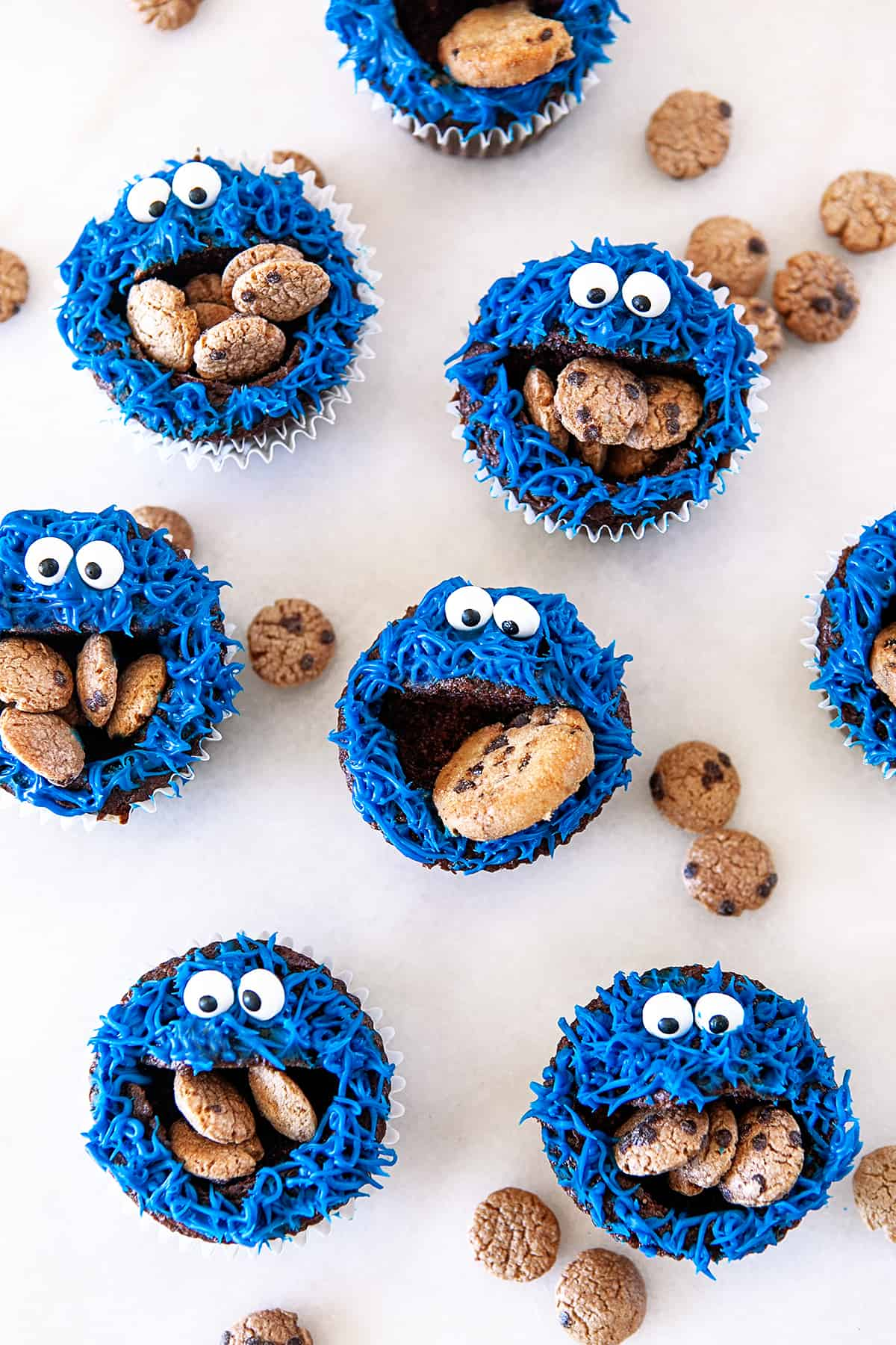 Overhead of Cookie Monster Cupcakes