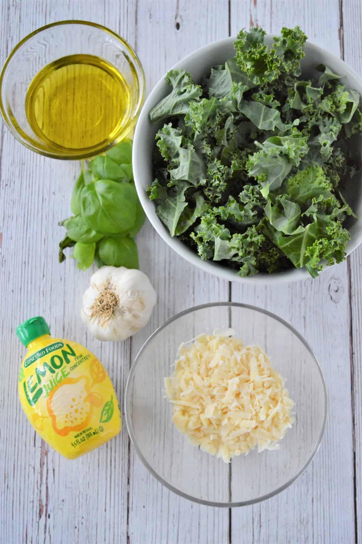 Ingredients for kale pesto