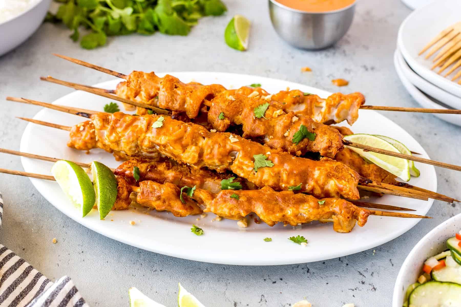 Chicken Satay on a platter