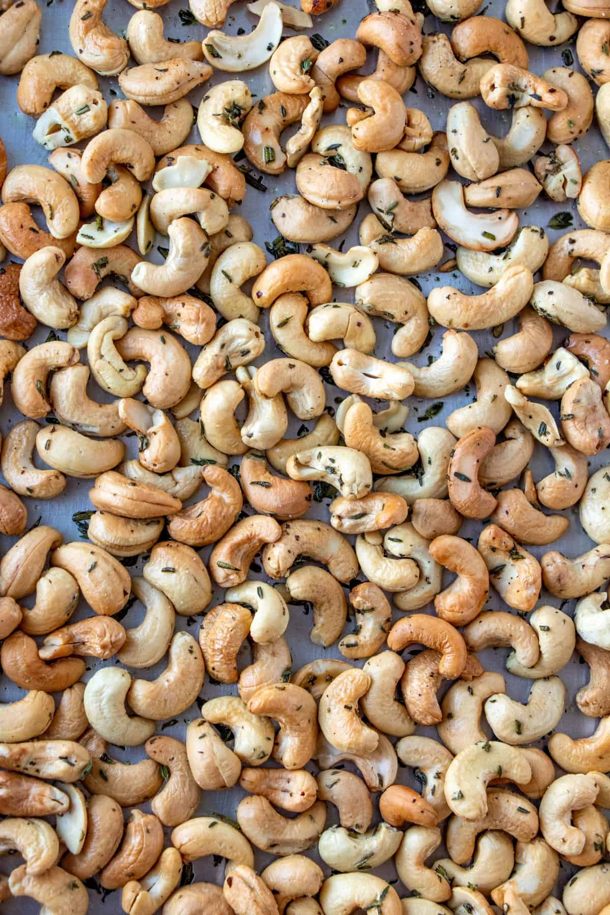 Herb Roasted Cashews on a baking sheet.