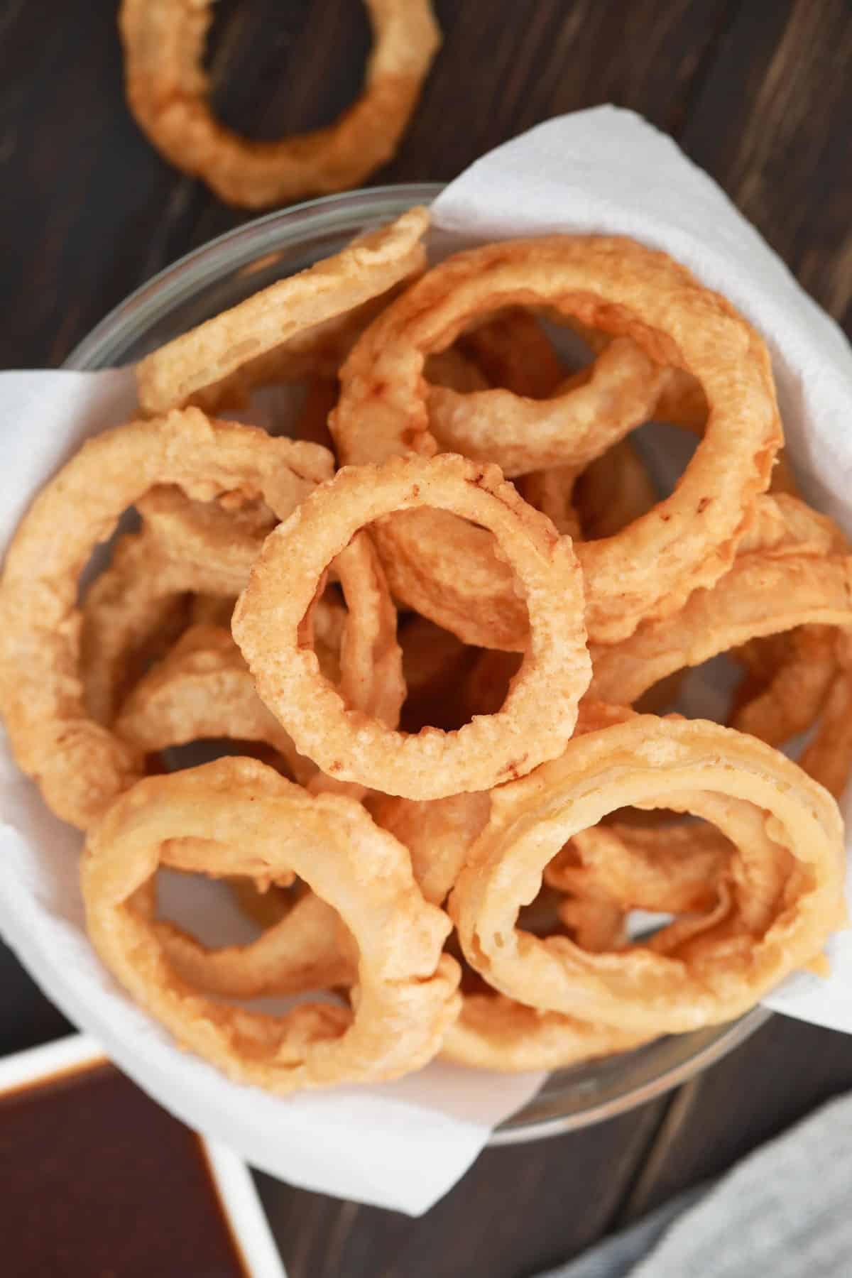 Overhead of a basket of onion rings