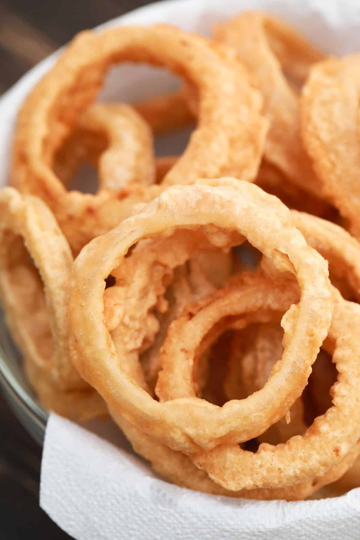 Close up of Beer Battered Onion Rings