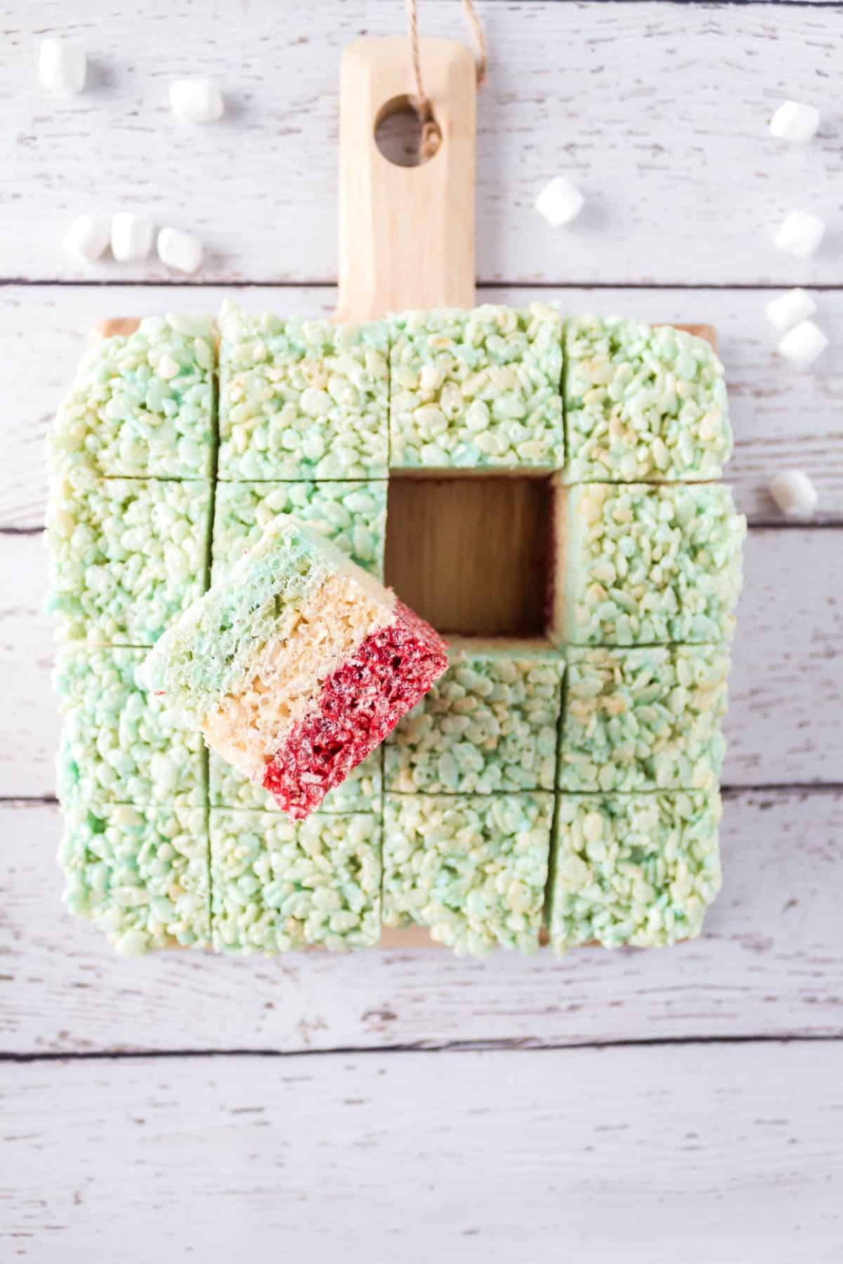 Cut Rice Krispies treats